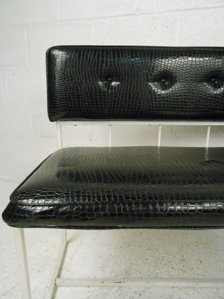 American Pair of Contemporary Modern Faux Croocodile Settees For Sale
