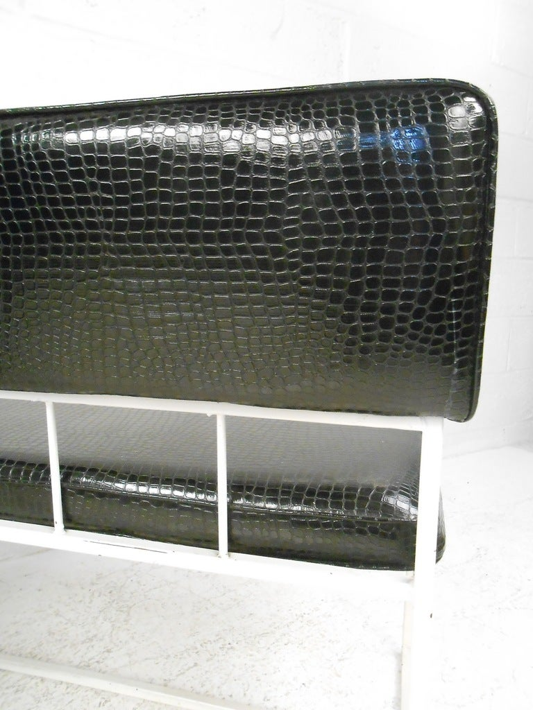 Pair of Contemporary Modern Faux Croocodile Settees In Good Condition For Sale In Brooklyn, NY