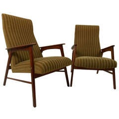 Danish Modern High Back Armchairs