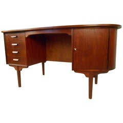 Mid-Century Modern Teak Desk with Storage Cabinet