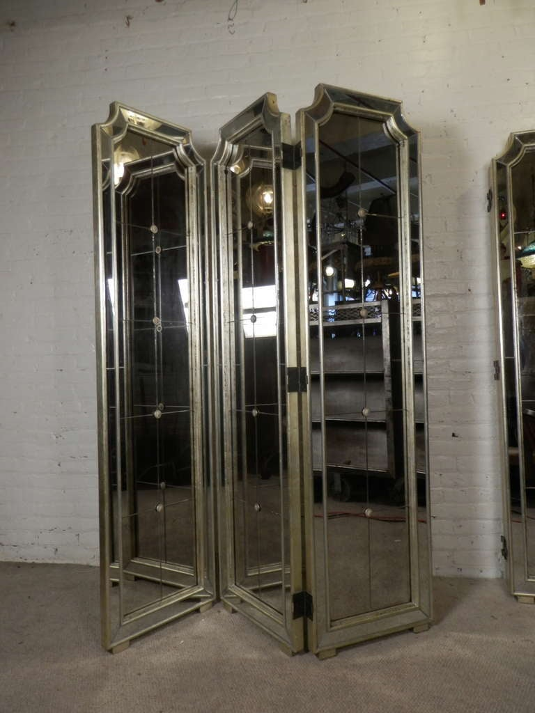 Hollywood Regency Style Three Panel Mirrored Screen At 1stdibs