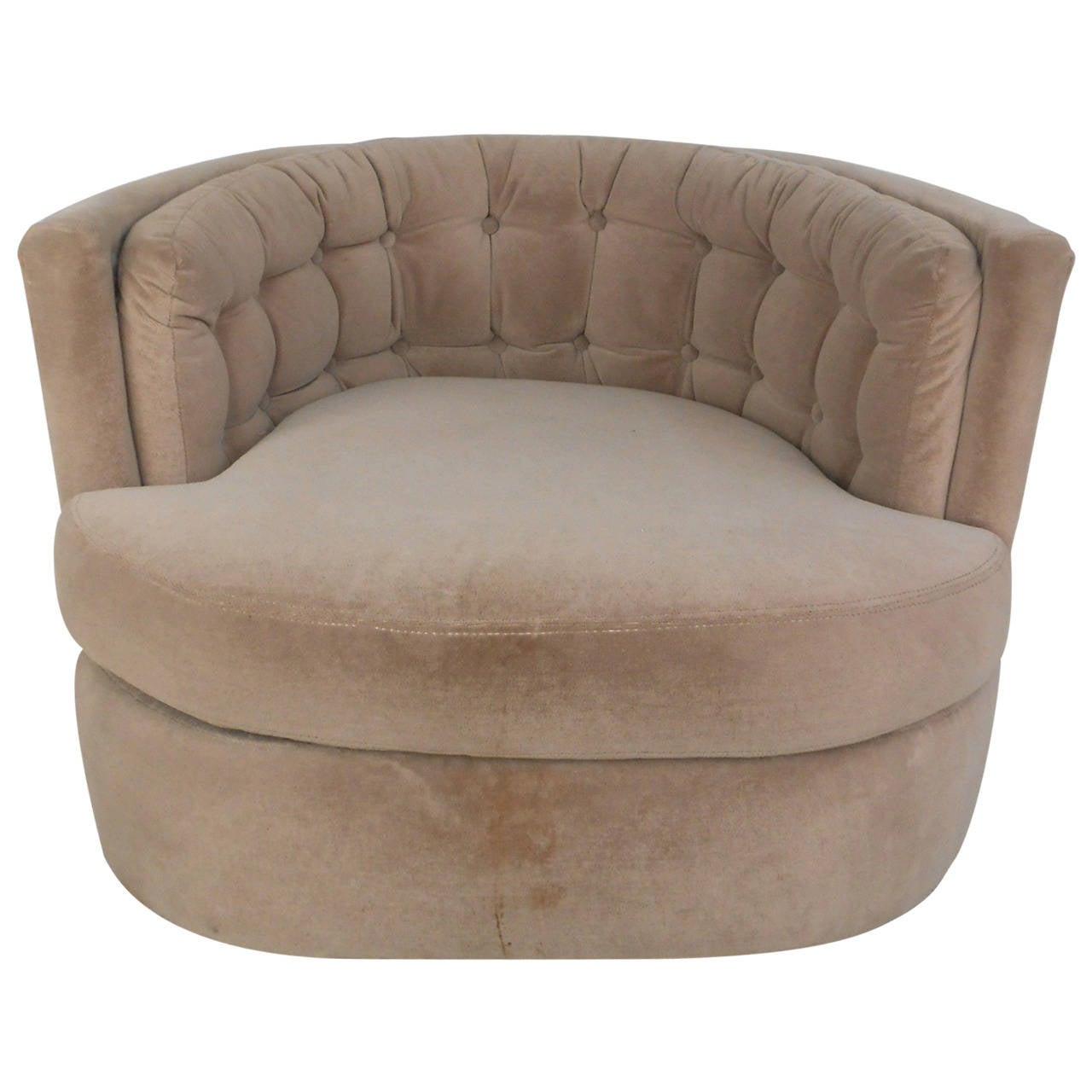 Mid Century Modern Milo Baughman Style Barrel Back Swivel Lounge Chair For Sale at 1stdibs