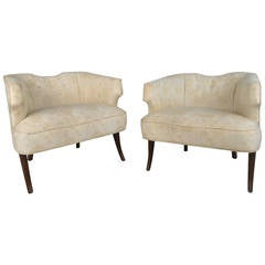 Unique Pair of Mid-Century Modern Sculpted Back Armchairs