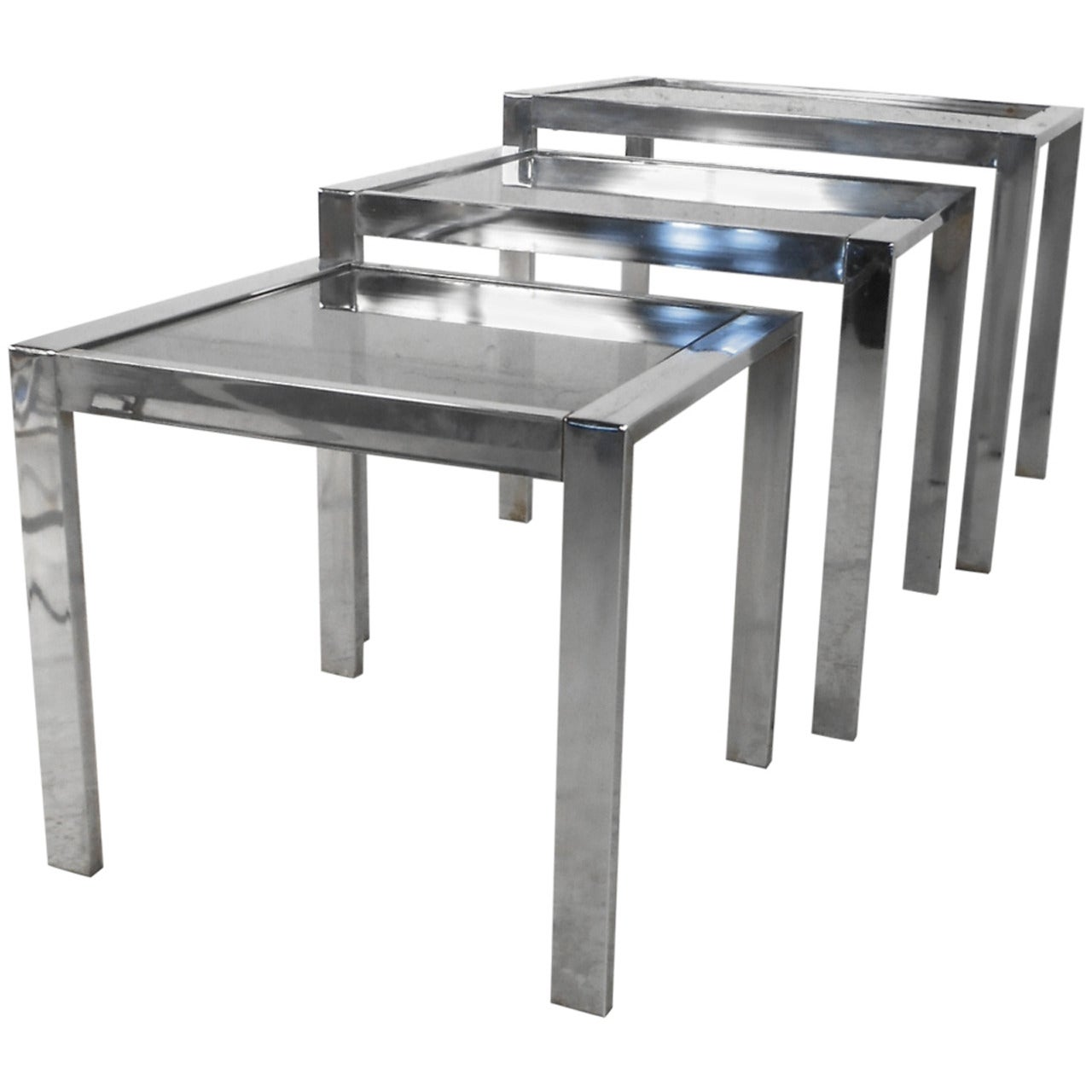 Set of Mid-Century Modern Chrome and Smoked Glass Nesting Tables