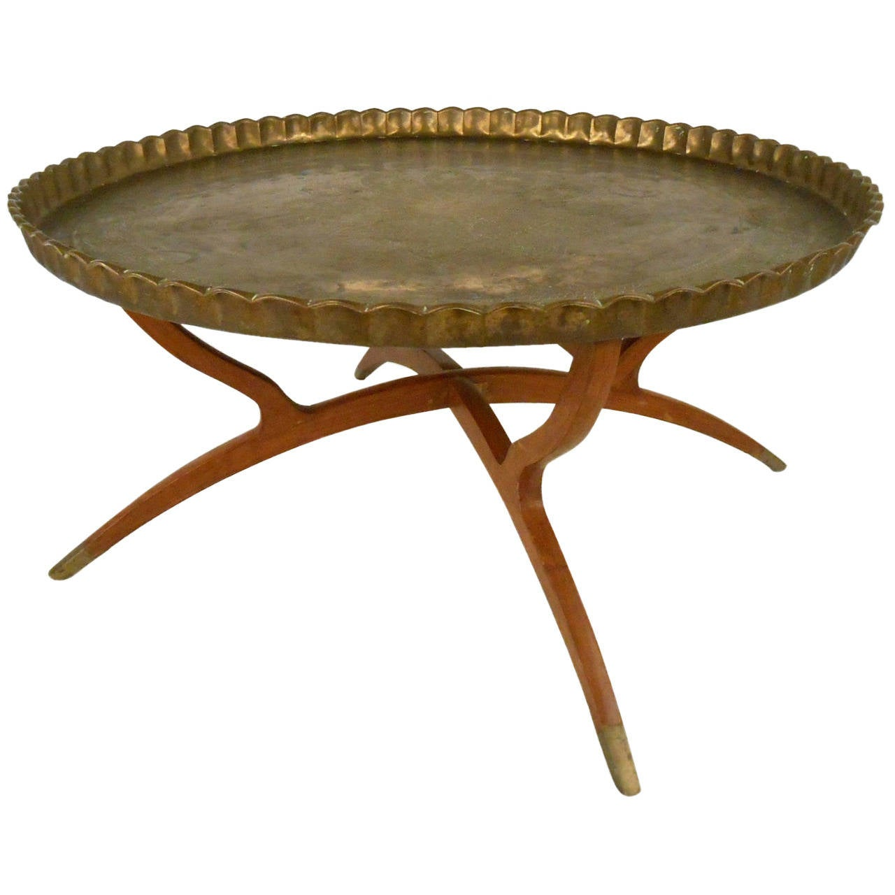 Vintage Mamluk Style Persian Brass Tray Table At 1stdibs