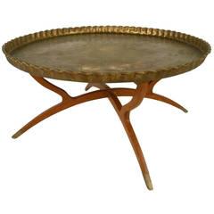 Vintage Mamluk Style Persian Brass Tray Table
