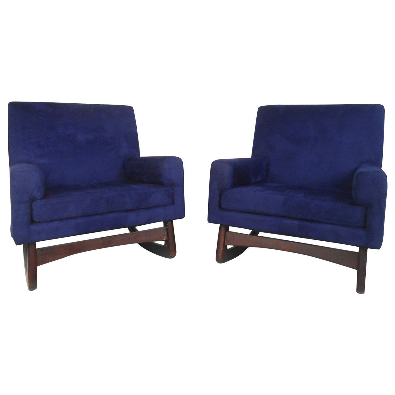 Unique Pair of Mid-Century Modern Suede Rocking Chairs