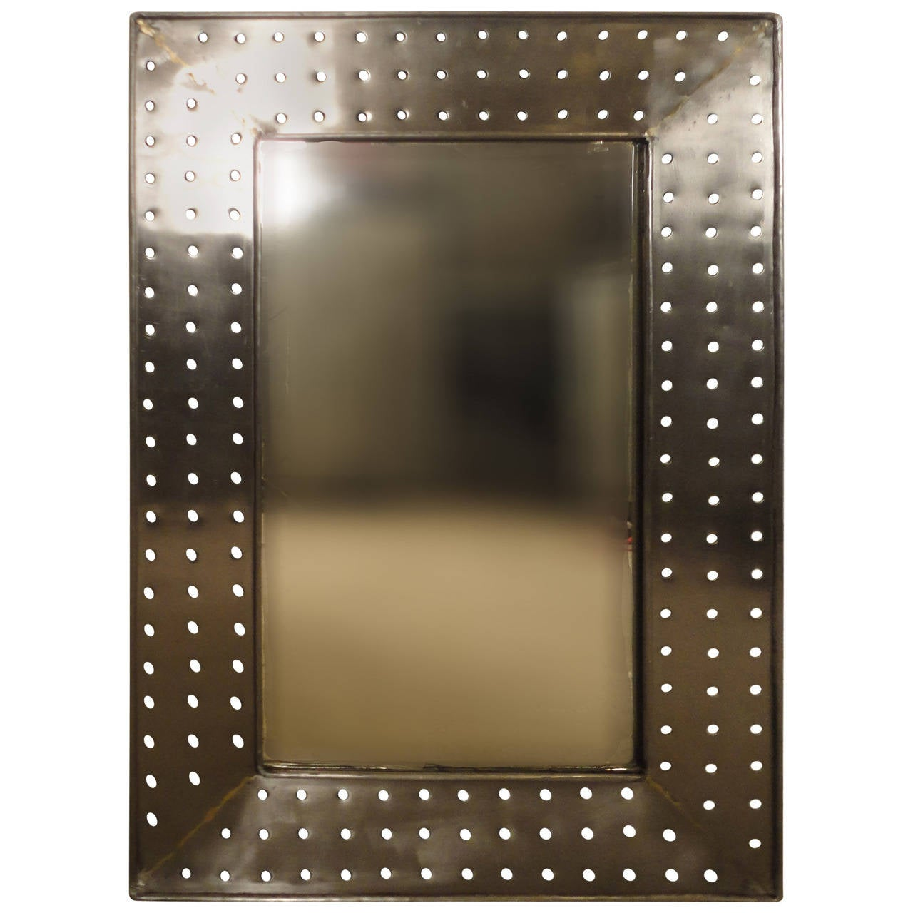 Industrial style metal mirror at 1stdibs for Looking for wall mirrors