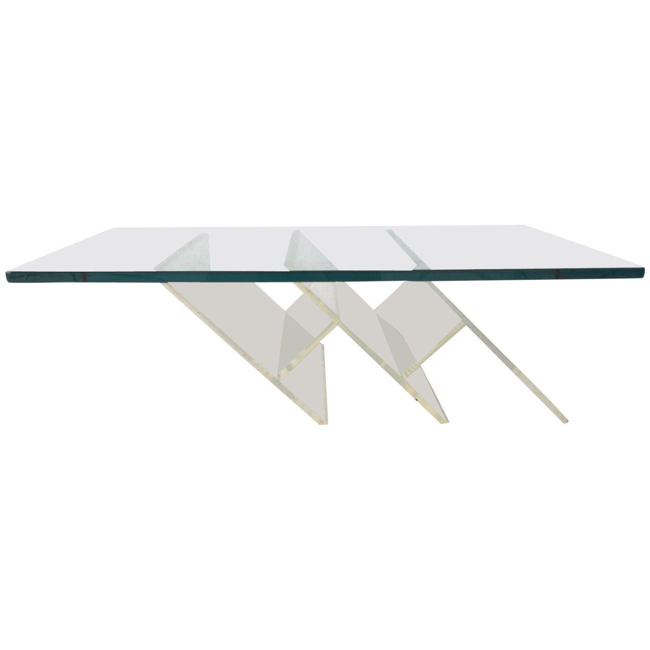 Sleek Mid-Century Modern Lucite Coffee Table