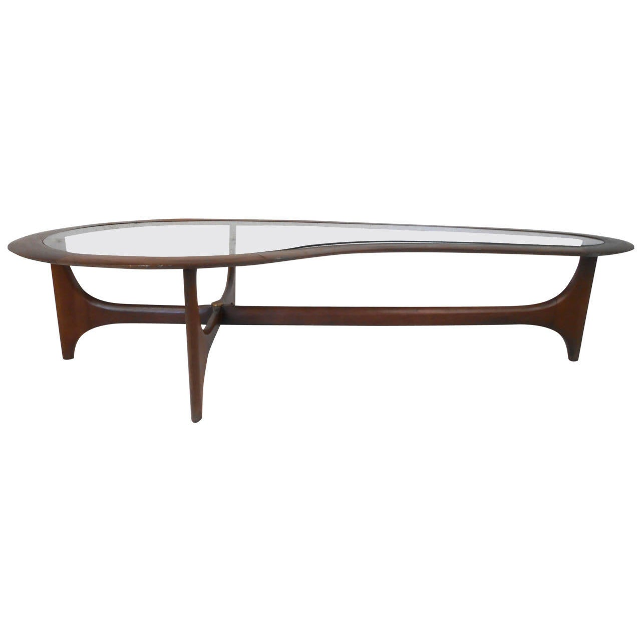 Neptune Cocktail Table ... Modern Pearsall Style Kidney Coffee Table by Lane For Sale at 1stdibs