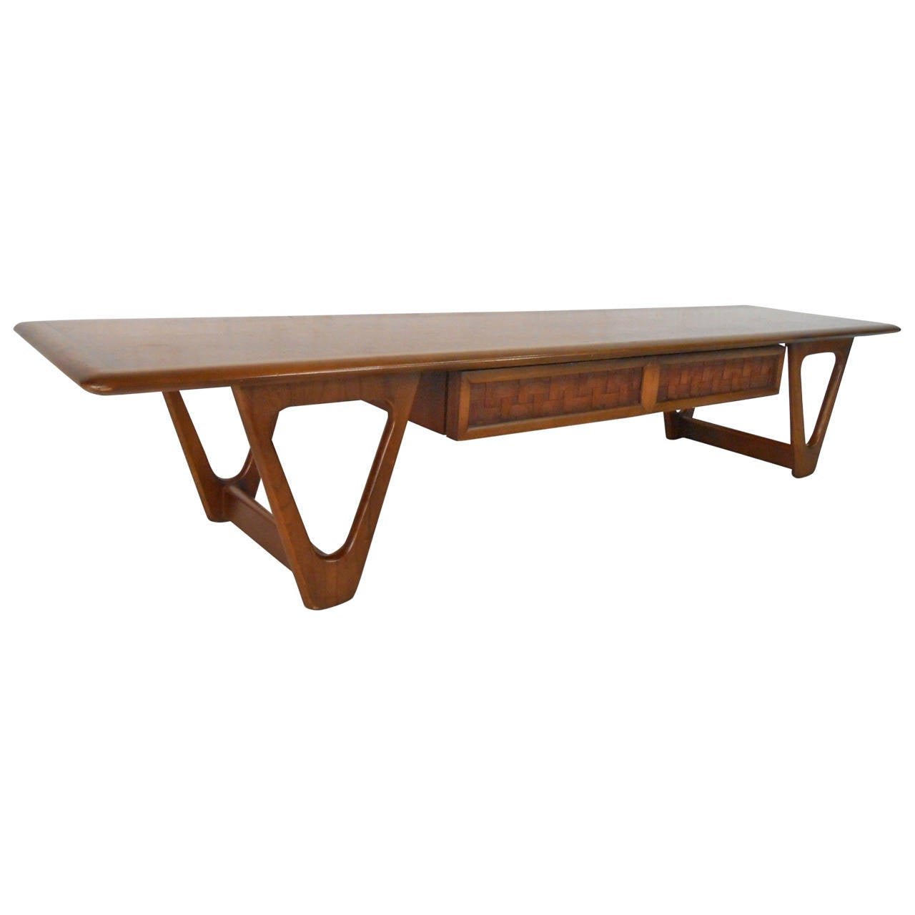 Mid century modern sculpted base warren church coffee for Mid century modern coffee table