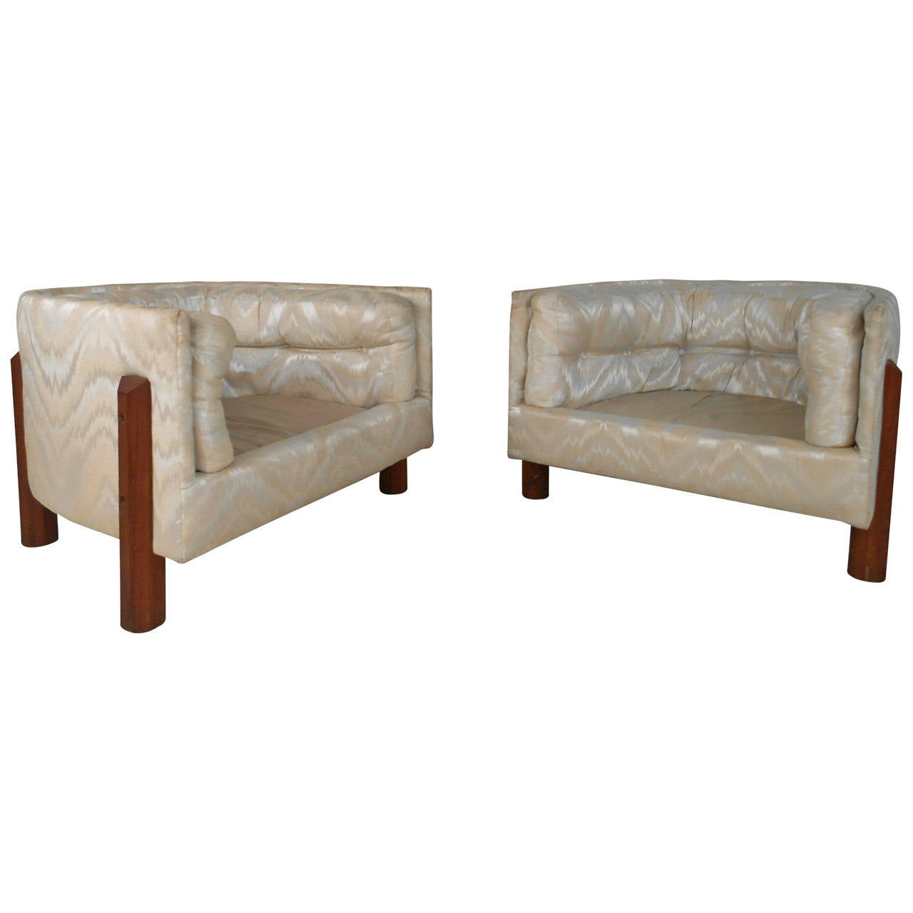Pair of Unique Tufted Mid-Century Modern Barrel Back Chairs