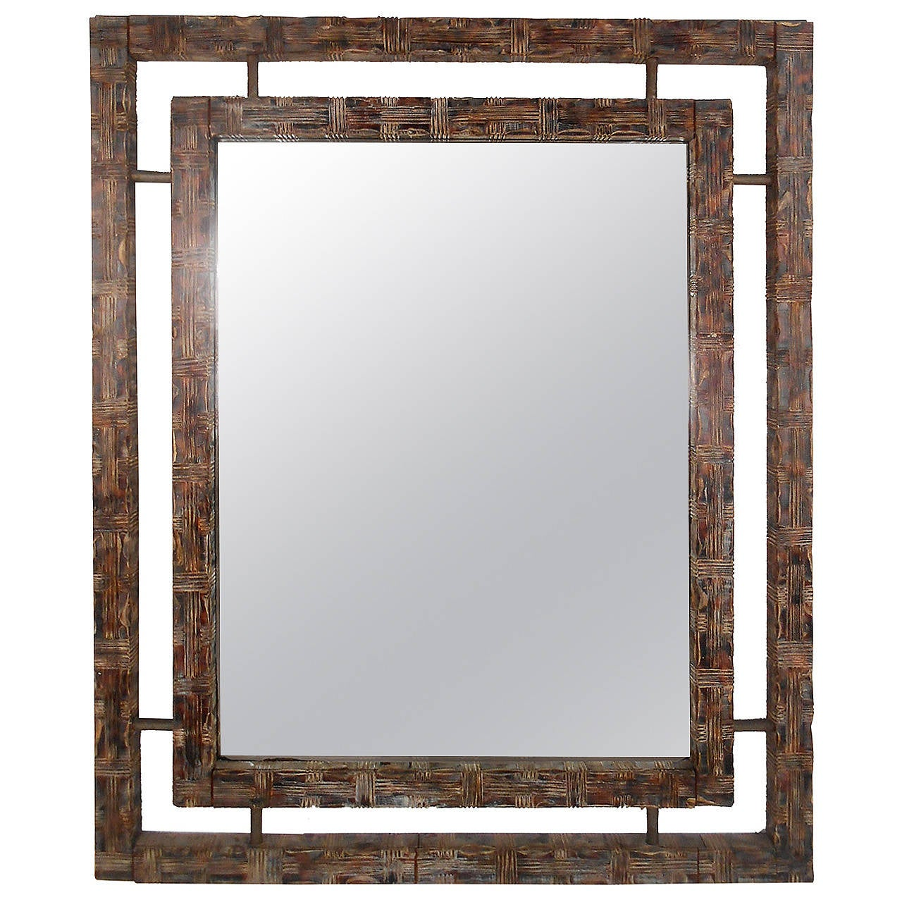 Unique Wall Mirror w/ Textured Frame at 1stdibs