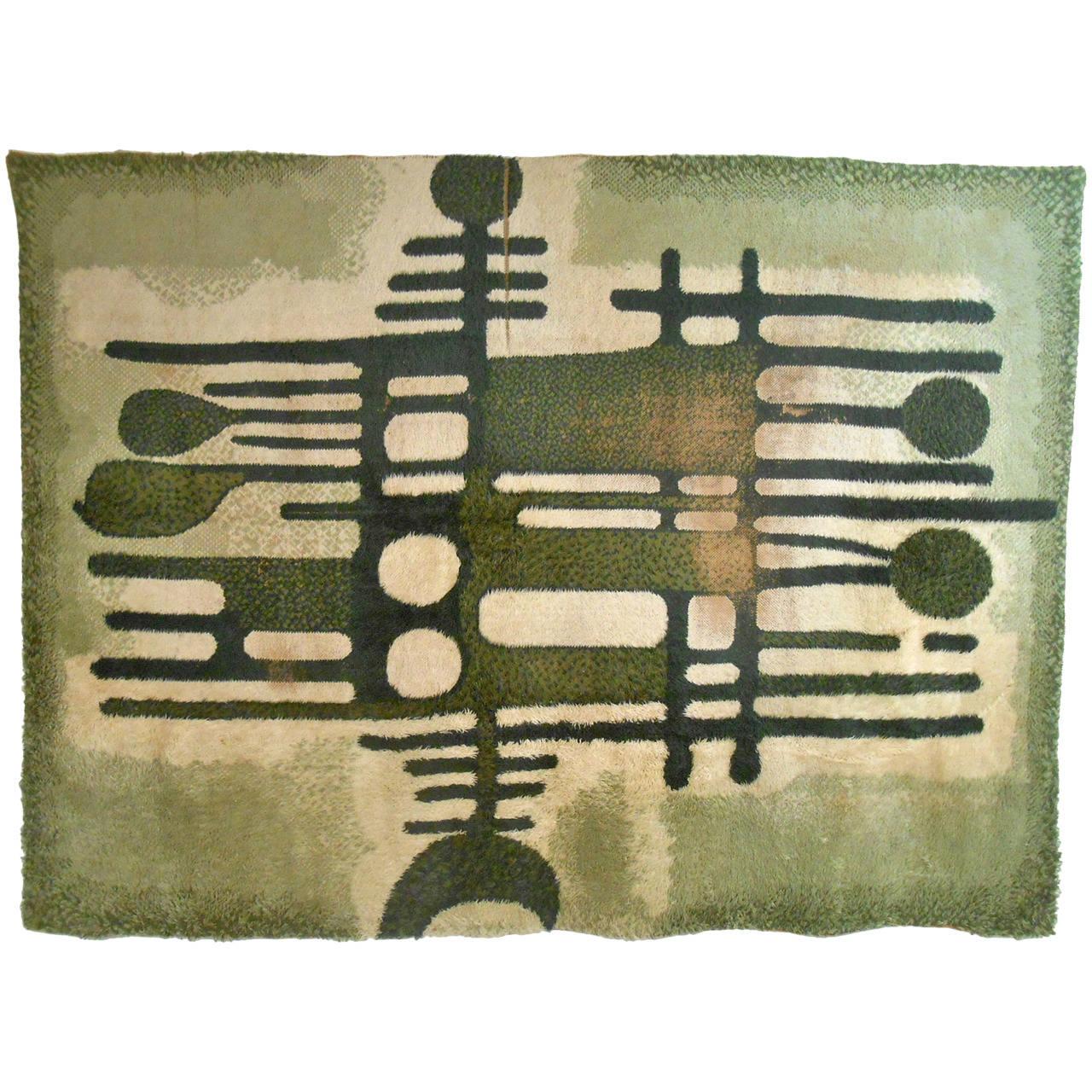 Large Mid-Century Modern Abstract Shag Rug