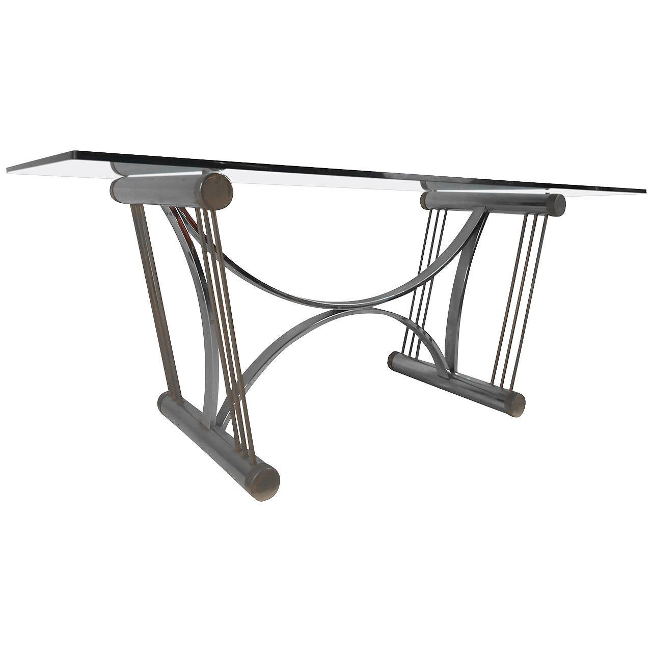 Modern Chrome and Glass Dining Table after Romeo Rega