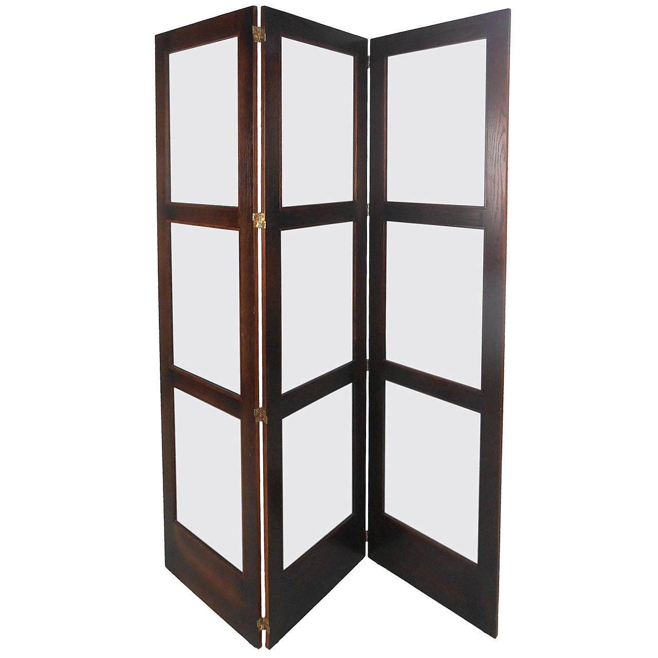 unique midcentury modern glass and hardwood room divider folding  - unique midcentury modern glass  hardwood room divider folding screen
