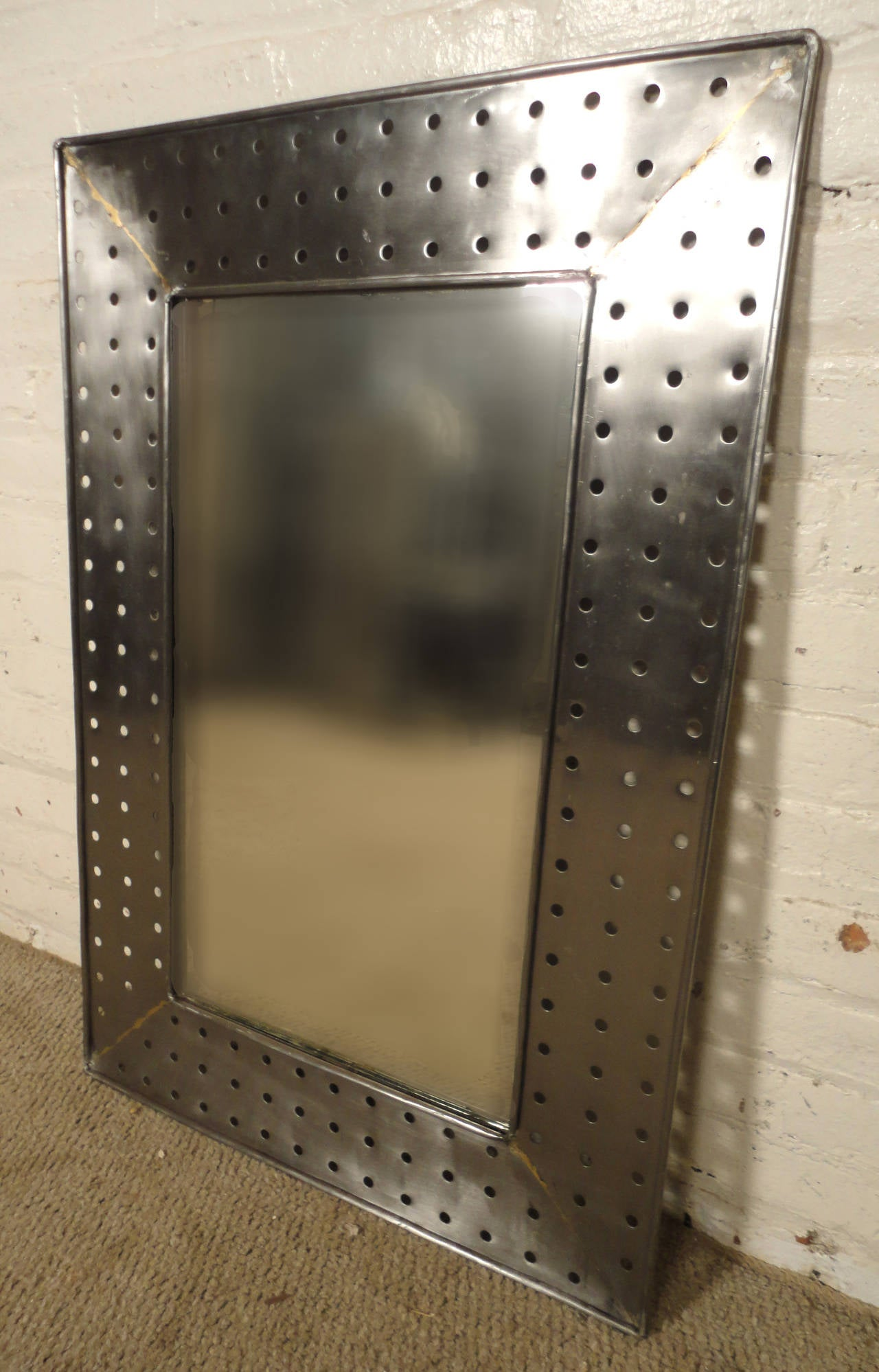 Industrial Style Metal Mirror At 1stdibs