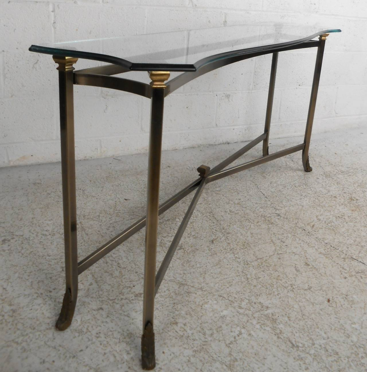 Unique midcentury style brass and beveled glass console for Unique console tables for sale