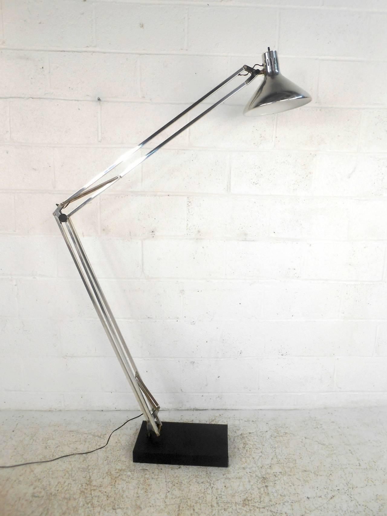 Mid Century Modern Chrome Adjustable Floor Lamp For Sale