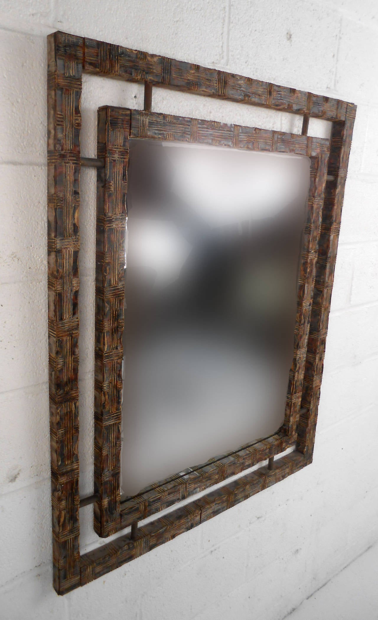 Unusual Mirrors For Wall : Unique wall mirror w textured frame for sale at stdibs