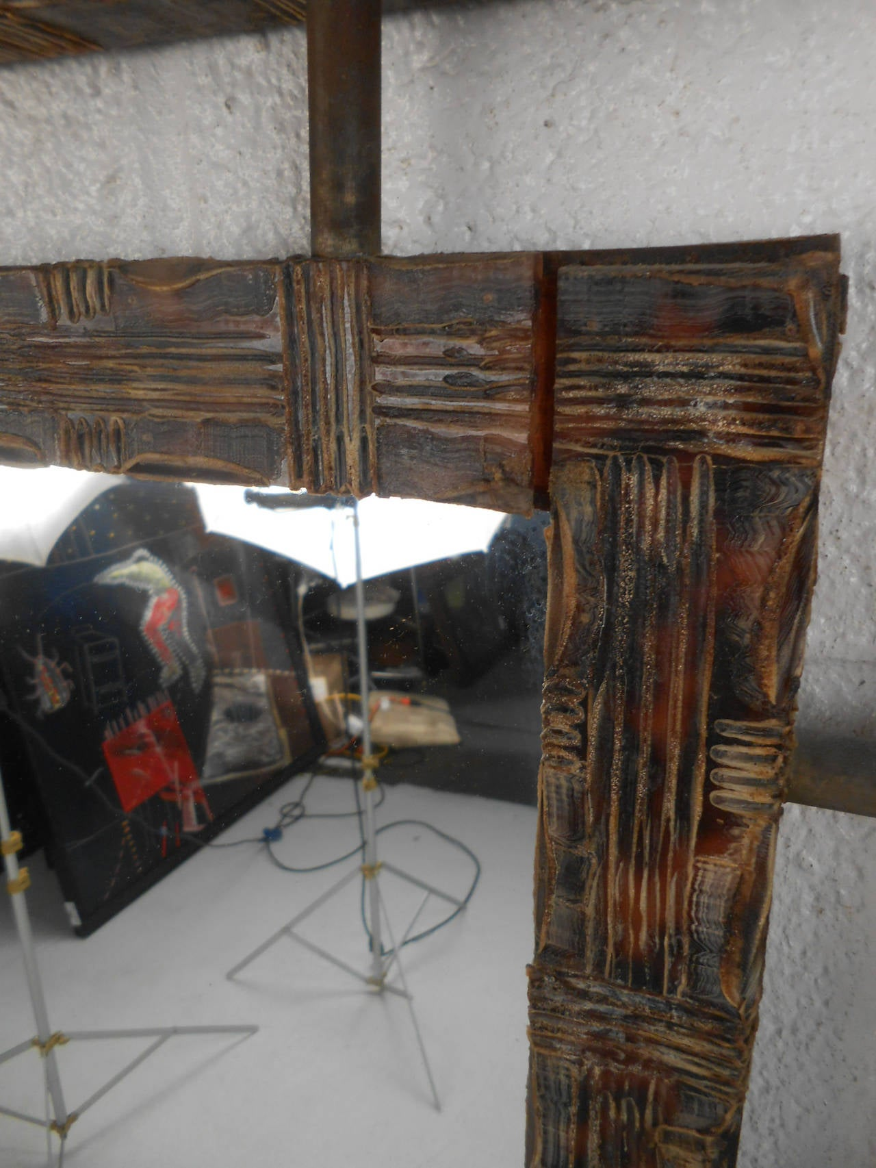 Unusual Mirrors For Wall : Unique wall mirror w textured frame at stdibs