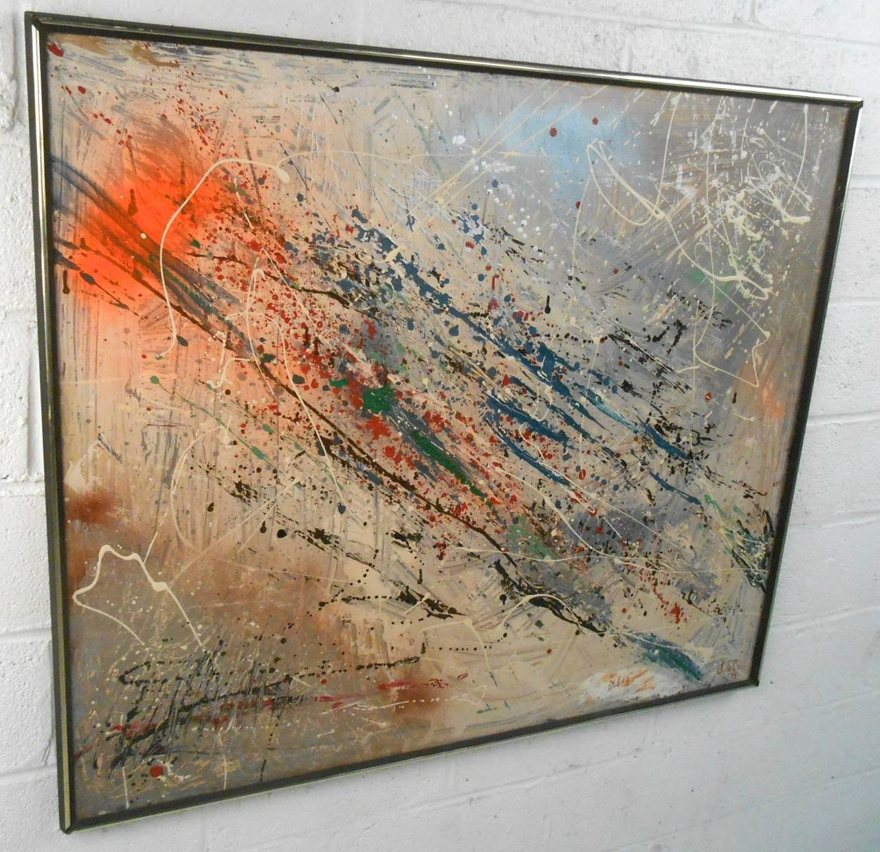 Large Mid Century Modern Abstract Painting By J Decaro At