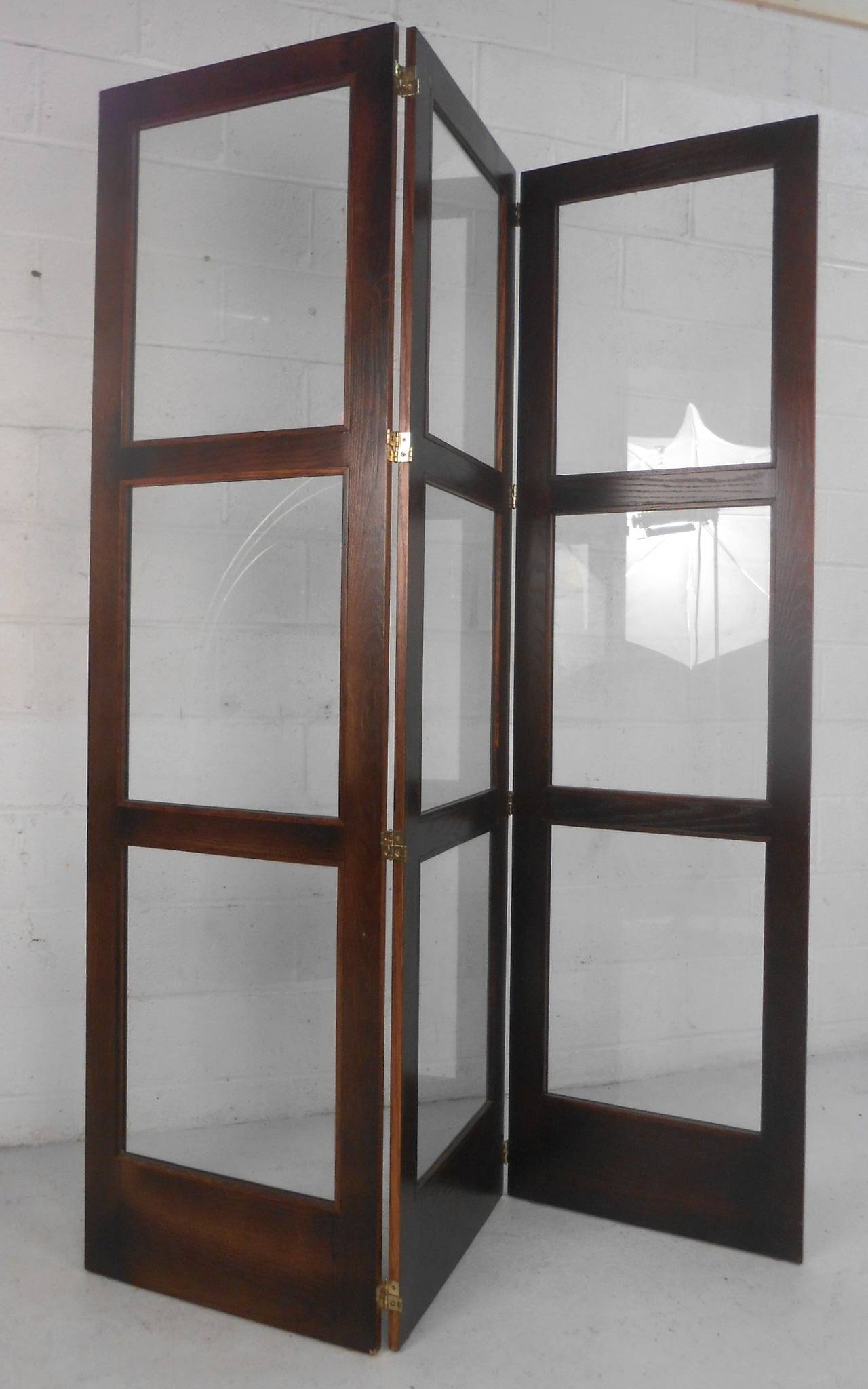 Folding Screen Unique Mid Century Modern Glass And Hardwood Room Divider Folding