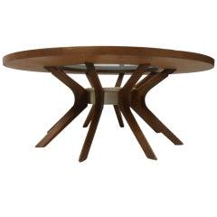 Sculptural Walnut Mid-Century Coffee Table
