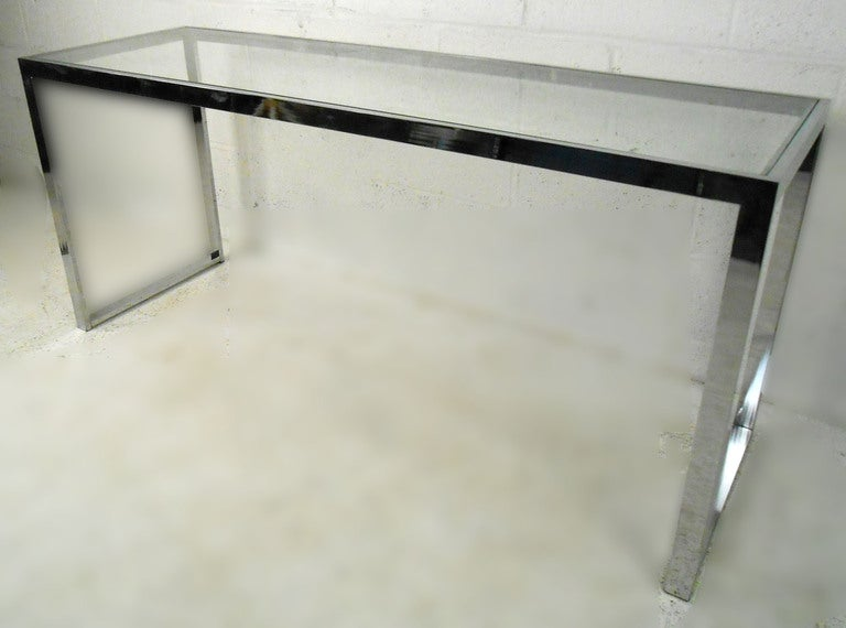 Mid century modern desk more - Mid Century Modern Chrome And Glass Console Table At 1stdibs