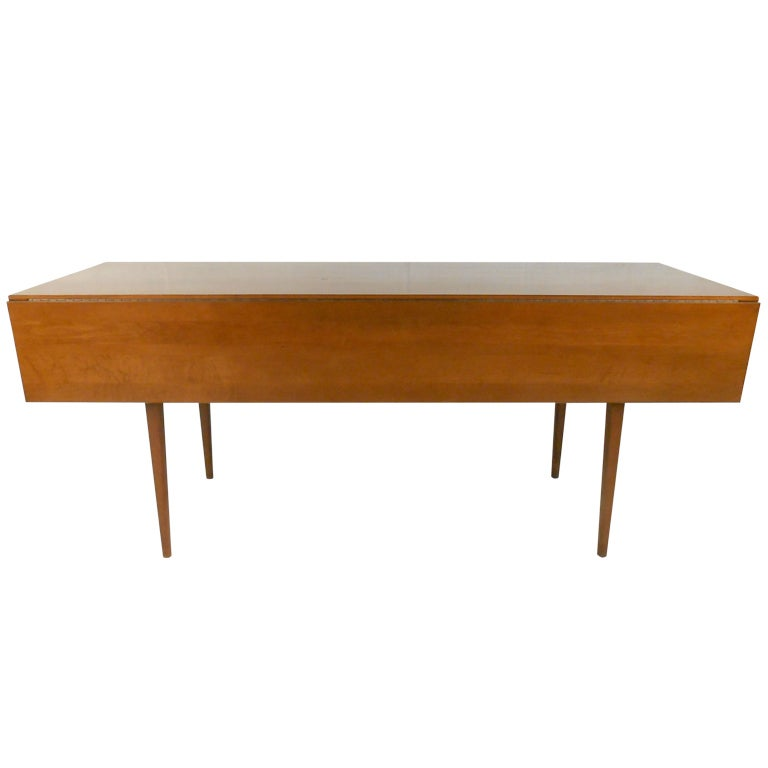 Uniquely Long Mid Century Modern Drop Leaf Table At 1stdibs