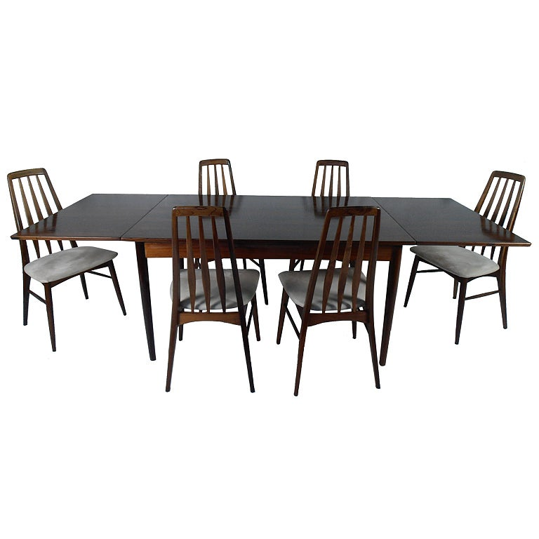 Rosewood Table And Eva Chairs By Niels Koefoed At 1stdibs