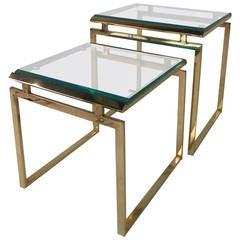 Pair Mid-Century Modern Milo Baughnman Brass & Glass Nesting Side Tables