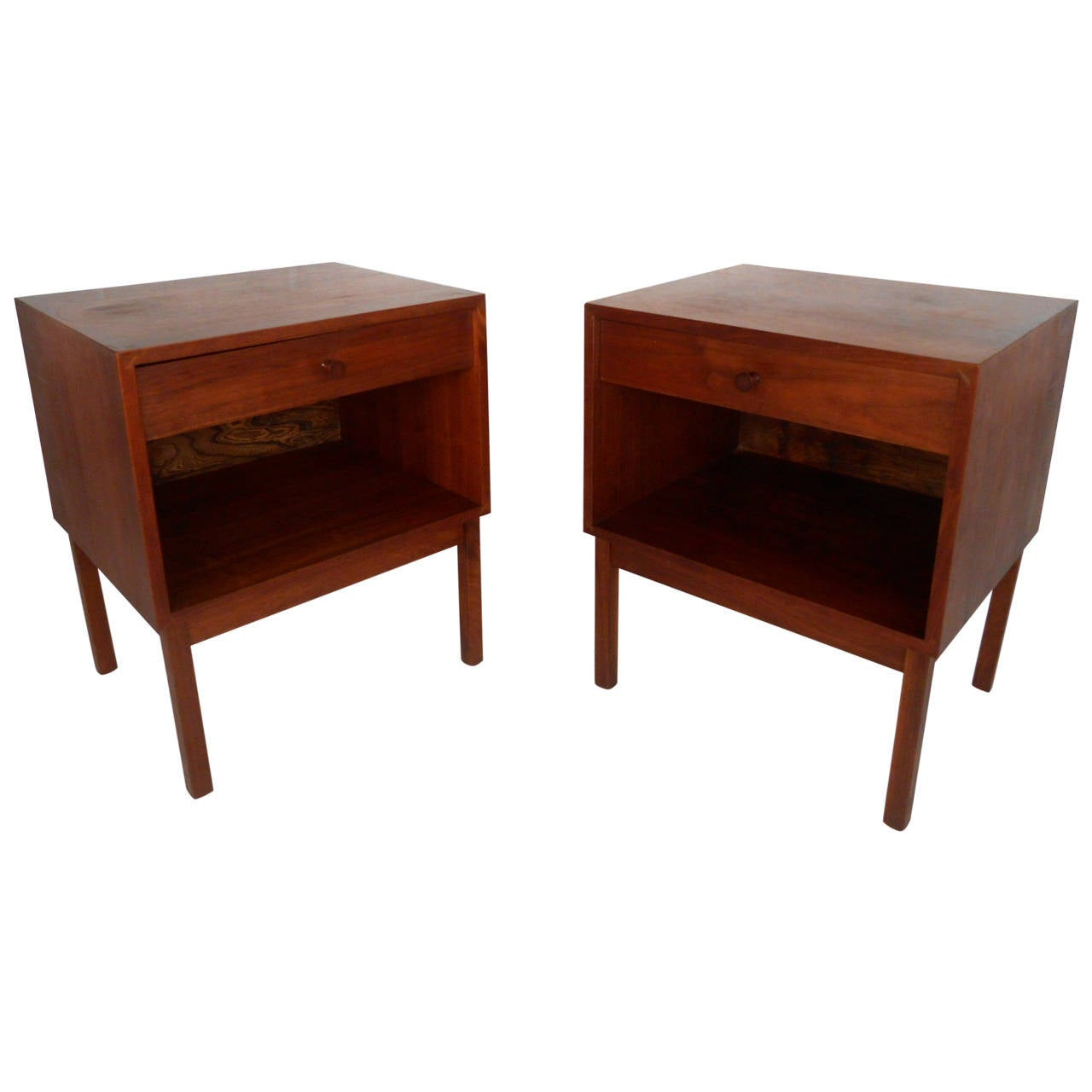 Pair mid century modern single drawer nightstands at 1stdibs