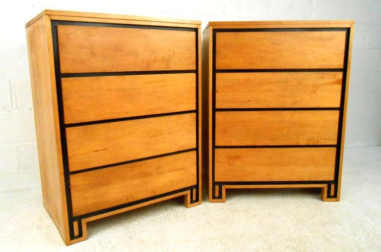 Pair Mid-Century Modern Leslie Diamond for Conant-Ball Highboy Dressers 2