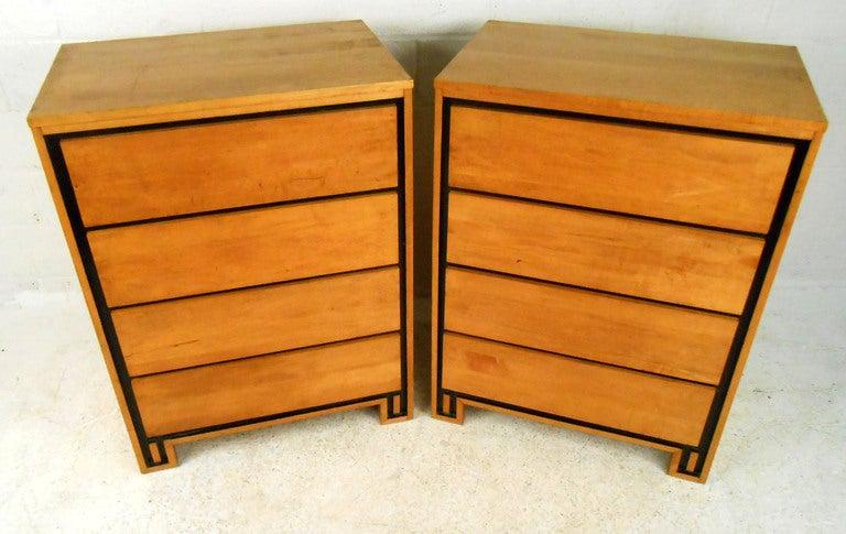 Pair Mid-Century Modern Leslie Diamond for Conant-Ball Highboy Dressers 3