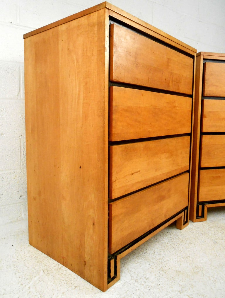 Pair Mid-Century Modern Leslie Diamond for Conant-Ball Highboy Dressers 4