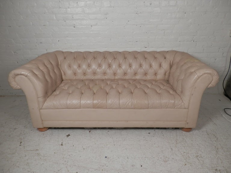 beige tufted mid century chesterfield sofa at 1stdibs. Black Bedroom Furniture Sets. Home Design Ideas