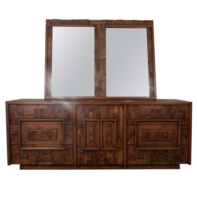 Brutalist Dresser By Lane W Mirror Mid Century Modern At