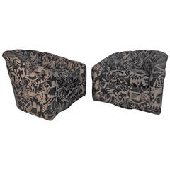Pair of Swivel Lounge Chairs with Barrell Back and Modern Fabric
