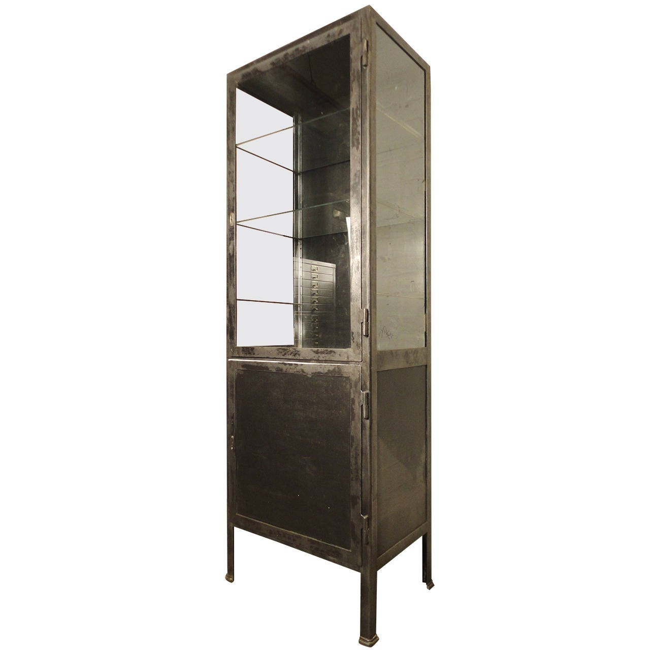 Metal Glass Display Cabinet Tall Industrial Metal Display Cabinet At 1stdibs