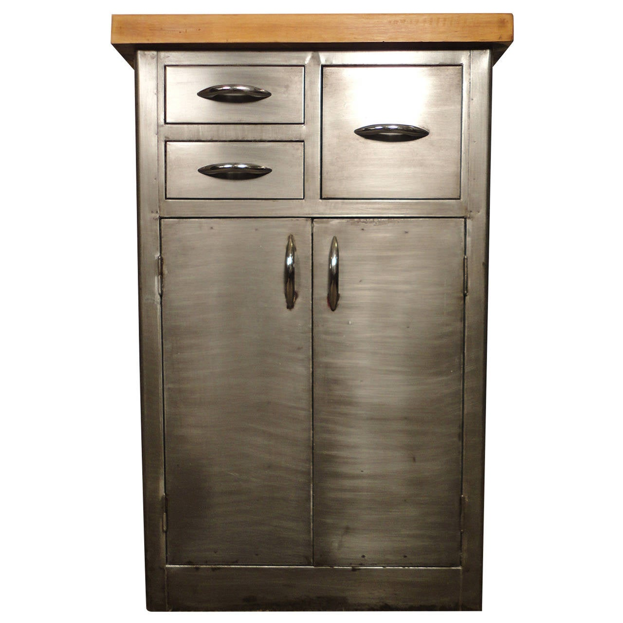 unique industrial metal cabinet w butcher block top at