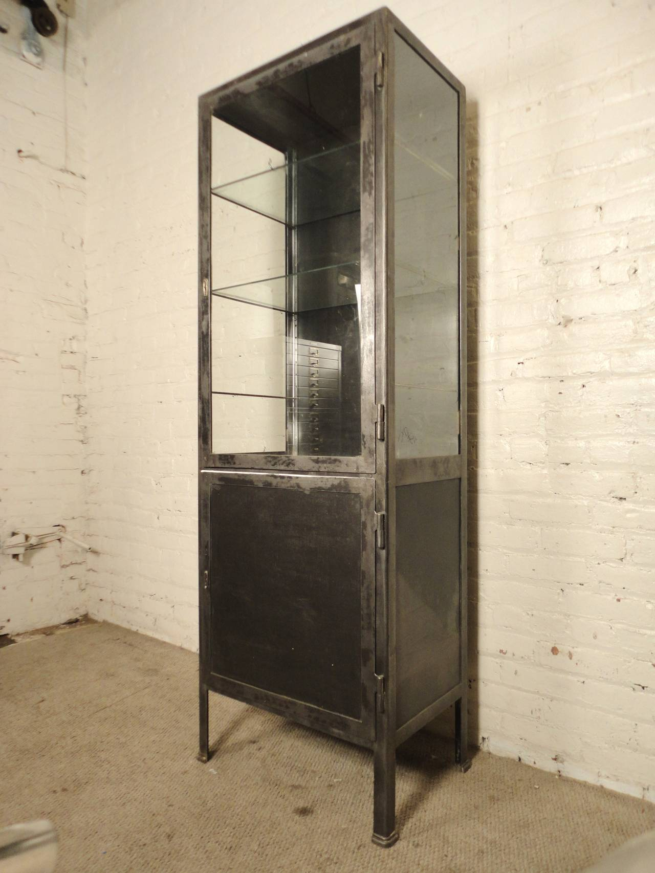 Tall Industrial Metal Display Cabinet at 1stdibs