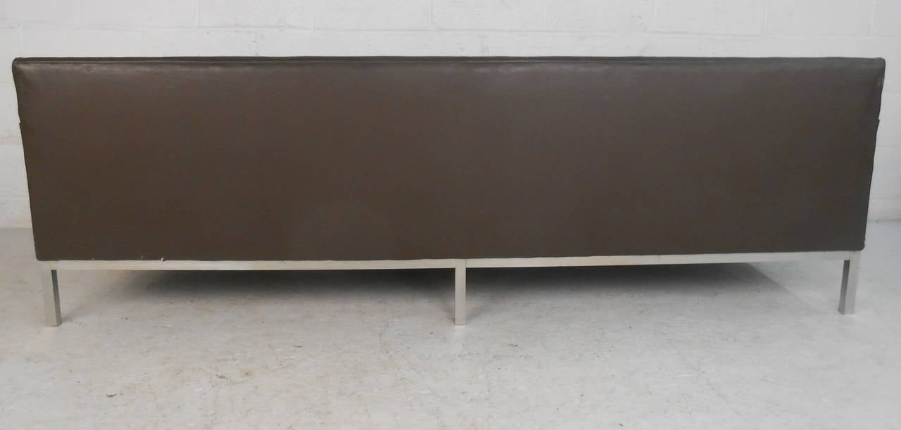 American Vintage Leather Sofa after Florence Knoll For Sale