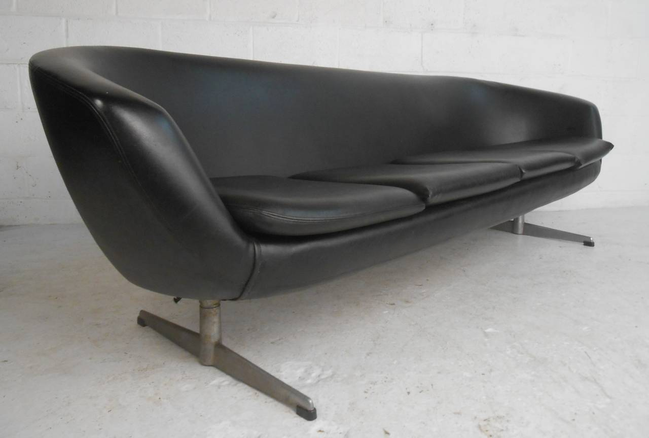 This Stylish Mid Century Modern Four Seat Sofa Features Stylish Sculpted  Back Design And Sturdy