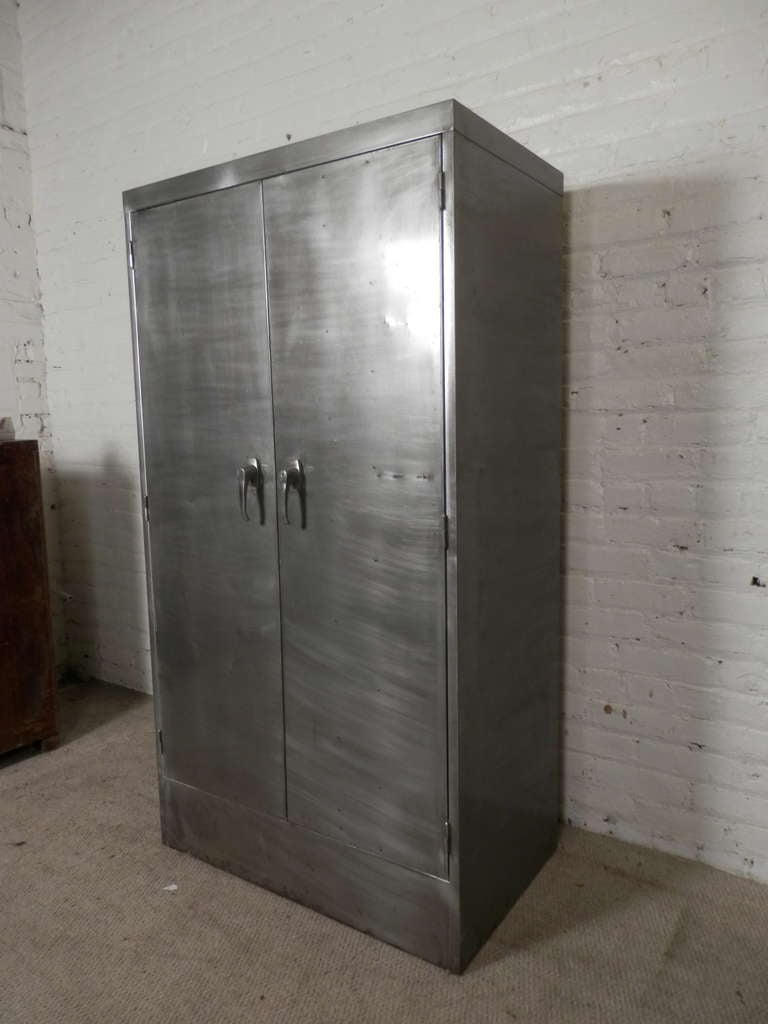 Heavy Duty Mid Century Industrial Bank Cabinet W Safe By