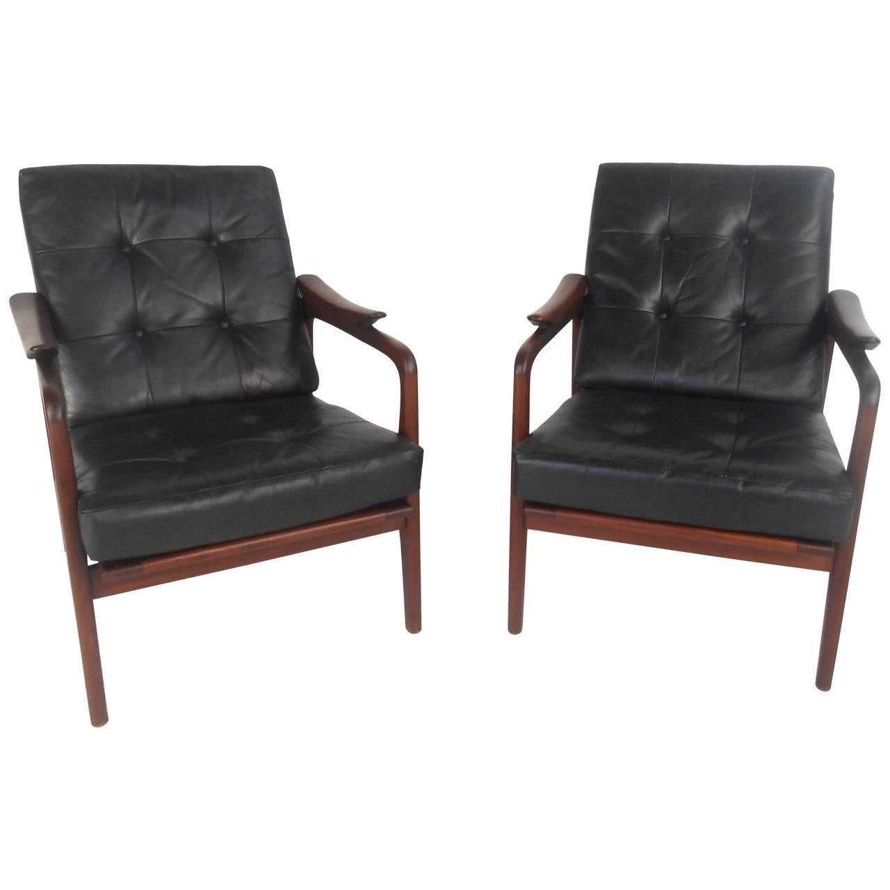 Mid Century Modern Furniture Chair: Pair Beautiful Mid-Century Modern Leather Lounge Chairs At