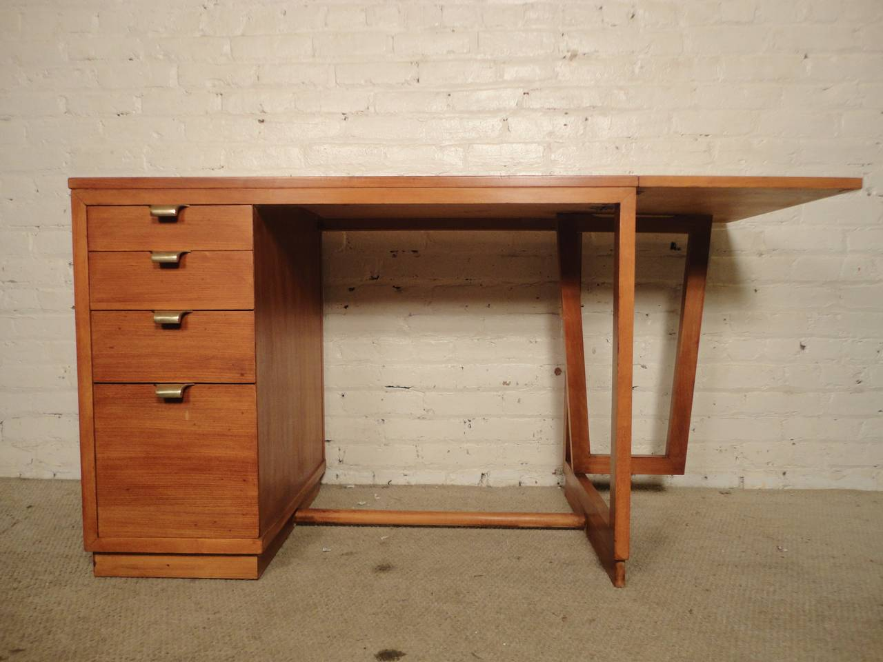 Mid Century Modern Writing Desk By Edward Wormley With Functioning Drop Leaf Extension Made