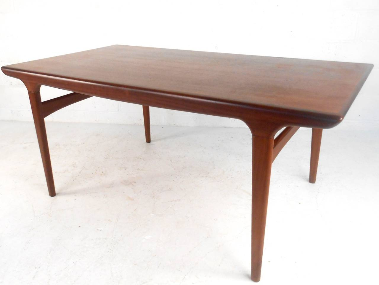 Mid Century Modern Hans Wegner Style Teak Draw Leaf Dining Table At