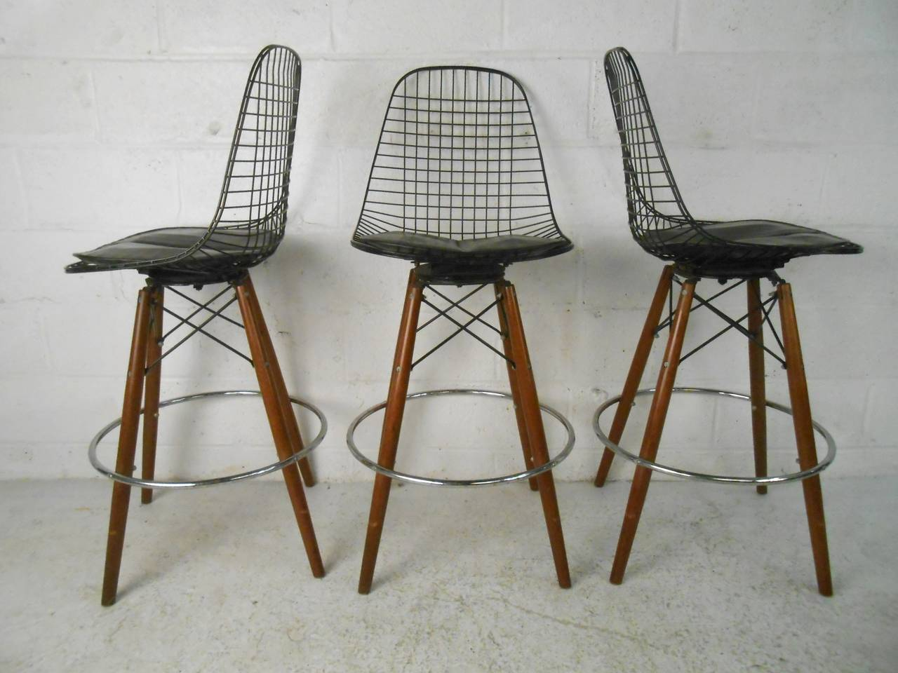 unknown set of four midcentury modern barstools in the style of harrybertoia for. set of four midcentury modern barstools in the style of harry