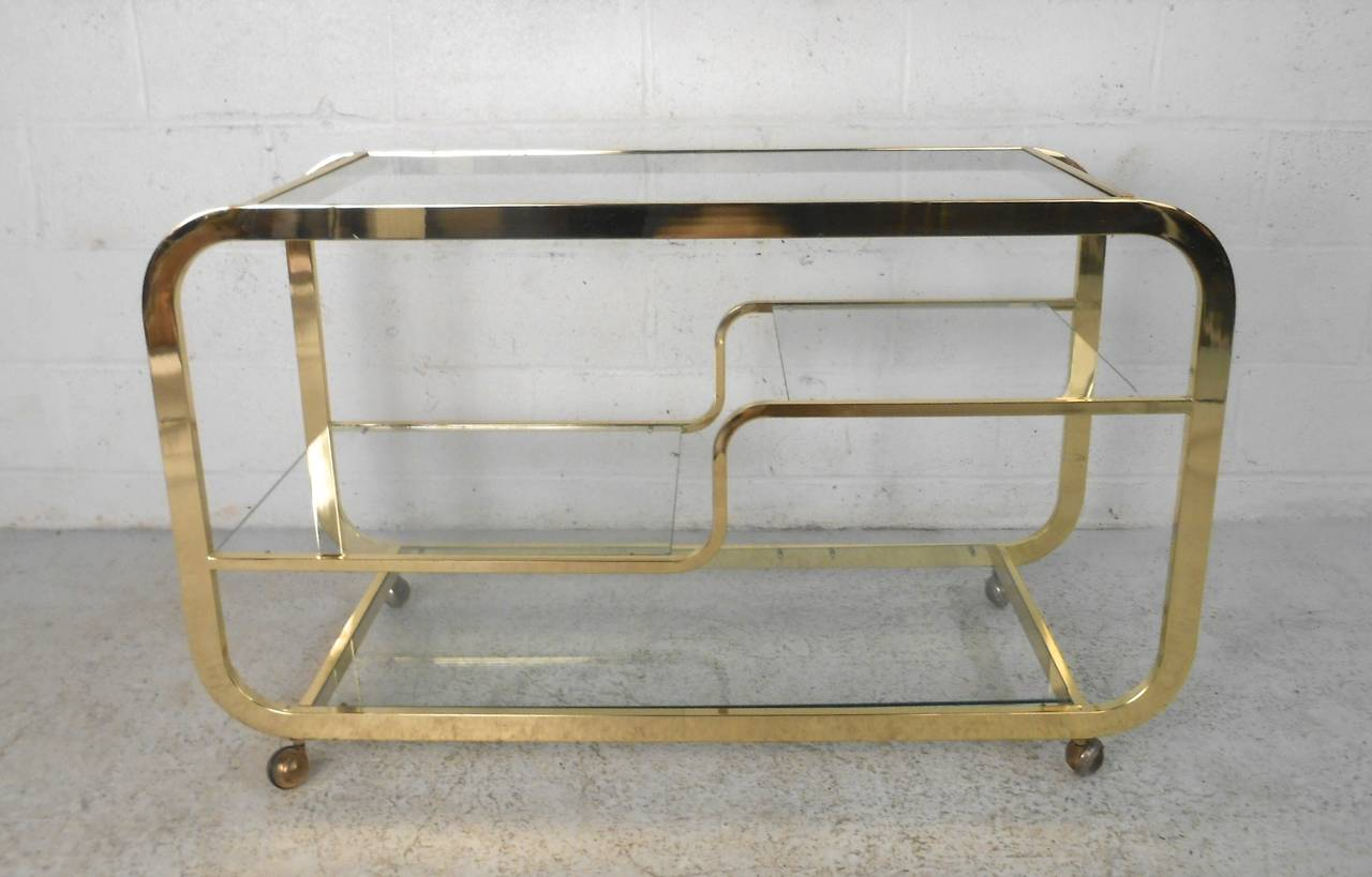 Mid Century Modern Milo Baughman Br And Gl Bar Cart At 1stdibs